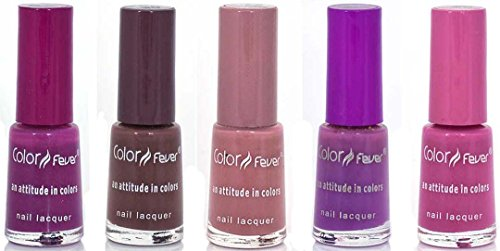 Color Fever Nail Polish Value Pack - Mini Pops - Purple / Beige Desire, 0.85 Ounce (Pack of 5)