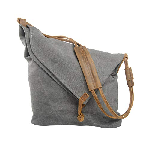 02b3b0891a18 VRIKOO Casual Crazy Horse Leather Canvas Crossbody Messenger Bag Classic  Retro Shouder Weekender Bag For Unisex (Dark Grey)