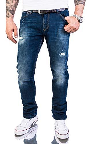 Rock Creek Herren Jeans Hose Slim Fit Stretch Jeans Herrenjeans Herrenhose Denim Stonewashed Dunkelblau Raw Destroyed RC-2145 Darkoceanblue W40 L32