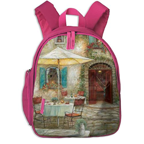European Cafe (ADGBag Kinder Rucksack Full-Size Printed European Style Cafe Pocket Backpacks Backpack Schoolbag for Childrens Kids Children Boys Girls)