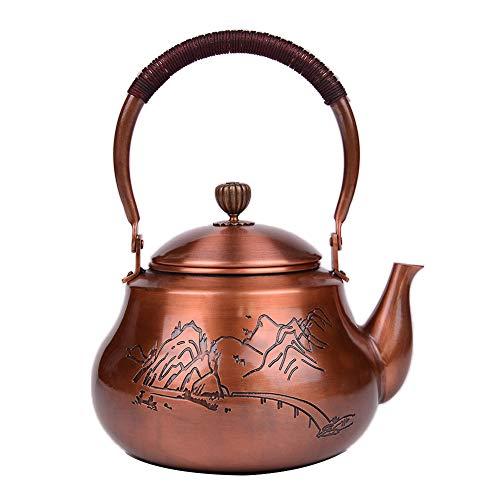 Mfun-CH Japanischer Stil Gegossen Kupfer Teekanne, Gekochte Wasser-Tee-Set Handgefertigtes Reines Kupfer Material Keine Beschichtung