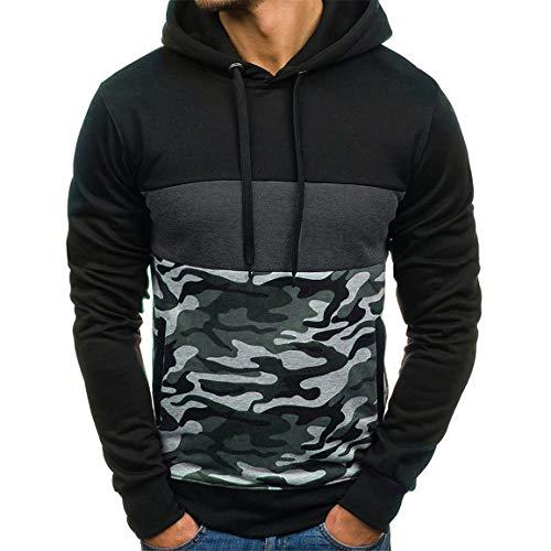 Mens Camouflage Hoodies Mann Plus Size Pullover Mode Patchwork Langarm-Kapuzen-Sweatshirt Tops Bluse mit Taschen Moonuy