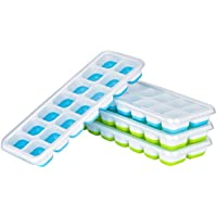 Ice Cube Trays with Lids - Queta, Food Grade Silicon Ice Trays Muffin Pudding Mould 14 Ice Cubes Molds, 4 Pack, Best for Water, Cocktail and Other Drink