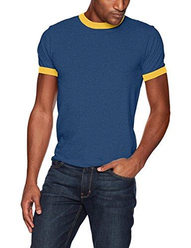 Baumwolle Ringer T-shirt (Augusta Sportswear Herren Ringer T-Shirt XL Navy/Gold)