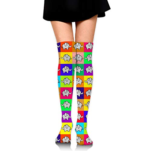 Cutie Pie Elephants On Squares Women's Over Knee Thigh Socks Girl High Stockings 65 Cm/25.6In Womens Cutie Pie