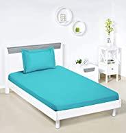 Amazon Brand - Solimo Solid 144 TC 100% Cotton Single Bedsheet with 1 Pillow Cover, Turquoise Blue