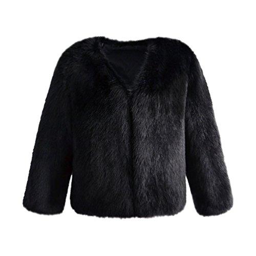 Yuandian donna autunno e inverno casuale colore solido corto sintetica pellicciotto ecologico elegante morbido caldo giacca di finta pelliccia cappotto nero s