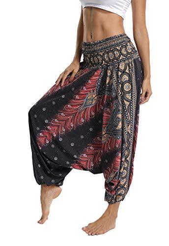 FITTOO Pantalon Yoga Femmes Sarouel Bohémien Harem Pants Imprimé Floral pour Danse Oriental