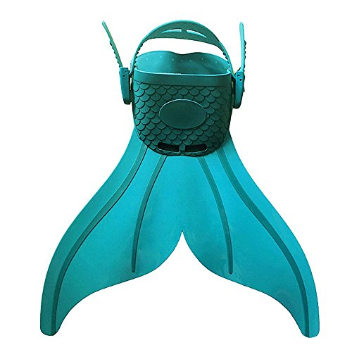 Eizur Enfant Réglable Sirène Monopalme de Plongée Natation Nageoires Palmes d'entraînement Pied Fins Mermaid Swimming Flippers pour Formation Sports nautiques Bain (Blu / Rosa / Vert)