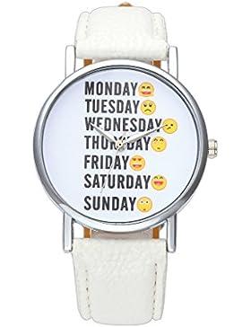 JSDDE Uhren,Fashion Englisch Woche Emoticon Armbanduhr Keine Ziffern Damenuhr PU Lederband Analog Quarzuhr,Weiss