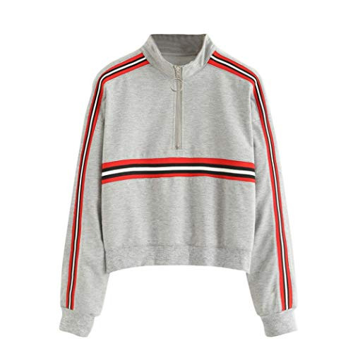 Damen Sweatshirt,Geili Frauen Mode Langarm Gestreiften Zipper Sweatshirt Jumper Pullover Bluse Damen...