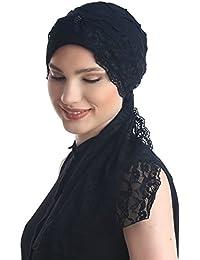 Motif de diamant avec des queues de dentelle Turban Coiffe pour Perte de Cheveux, Cancer, Chimio