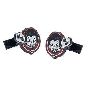 3D-Manschettenknöpfe, Joker-Design mit HaHa-Sprechblase, mit Geschenkbeutel und Kragenstäbchen