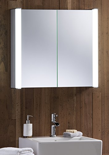 LED beleuchteter Badezimmer Spiegelschrank 60 cm x 65 cm x 13 cm Durchmesser, mit Rasiersteckdose und Sensor Switch C12 mit Beleuchtung, TÜV