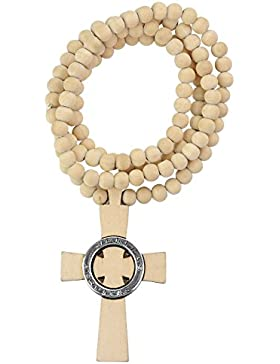 NEU Gut Holz Natural Holz Boondocks Saints Kreuz Anhänger mit 8mm 91cm Holz Perlen Halskette