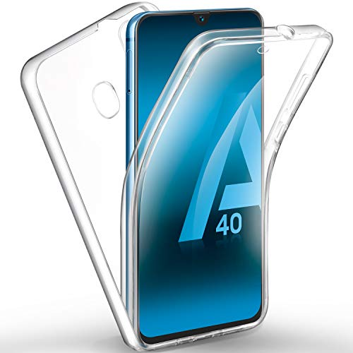 AROYI Funda Samsung Galaxy A40, Ultra Slim Doble Cara Carcasa Protector Transparente TPU Silicona + PC Dura Resistente Anti-Arañazos Protectora Case Cover para Samsung Galaxy A40