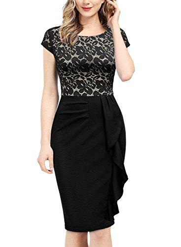 Miusol Damen Spitzenkleid Etuikleid mit Falte Cocktail Pencil Kleid Schwarz Gr.XL - 4