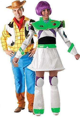 Herren Damen Paar Disney Woody & Buzz Lightyear Toy Story büchertag passend Halloween Kostüm Verkleidung Outfit - Multi, Multi, Ladies 12-14 & Mens STD