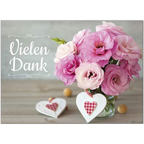 15 x Dankeskarten mit Umschlag - Blumen rosa Herzen - Danksagungskarten, Danke sagen, nach Hochzeit, Geburt, Baby, Taufe, Geburtstag, Kommunion, Konfirmation, Jugendweihe