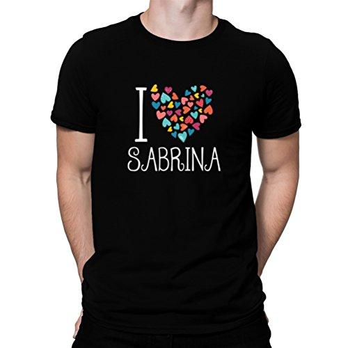 Maglietta I love Sabrina colorful hearts