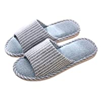 Fankle Unisex Slippers Women's Men's Couple Comfort Household Shoes Indoor Anti-Skid Striped Linen Breathable Bedroom Flip Flops(Navy,44-45)