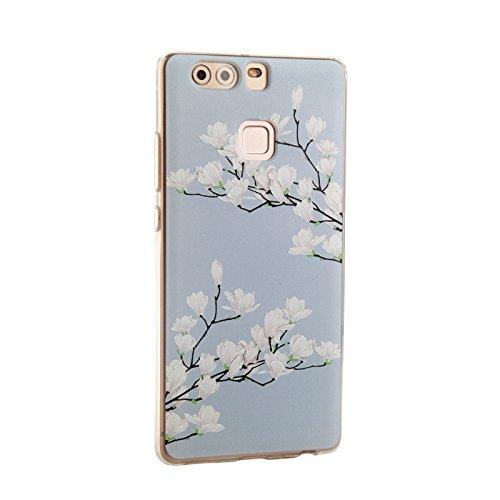 Voguecase® für Apple iPhone SE hülle, Schutzhülle / Case / Cover / Hülle / TPU Gel Skin (Aquarell Blätter) + Gratis Universal Eingabestift Weiße Magnolia