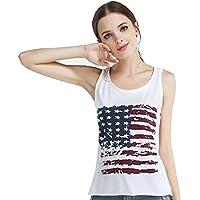 Hrph Las mujeres del verano del punk rock roll camiseta sin mangas de la blusa de la bandera americana de impresión Chaleco Tank Tops