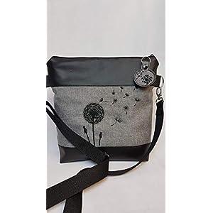 Handtasche Pusteblume Umhängetasche Schultertasche Tasche mit Anhänger handmade Kunstleder