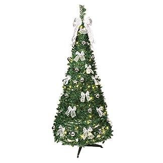 Best Season 603-92 – Árbol de navidad decorado con luces LED (tamaño aproximado: 190 x 80 cm, 80 luces LED con 8 funciones, decoración plateada)