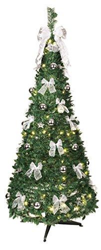 Star 603-92 Sapin de Noël Décorée Illuminé 144 LEDs Blanc Chaud Argent 190 x 80 cm