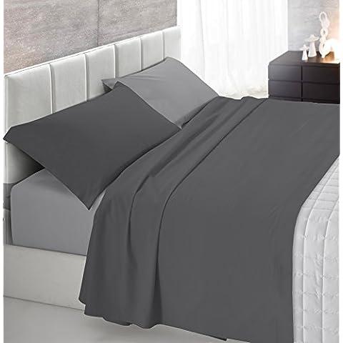Italian Bed Linen Completo letto con 3 pezzi, 100% Cotone, Grigio Chiaro/Fumo
