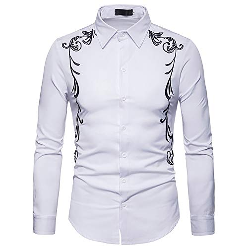Hombres Bordados Camisa De Manga Larga Casual Slim Fit Western Cowboy Camisa De Vestir Retro Prendas De Abrigo Top (Color : White, Size : S)