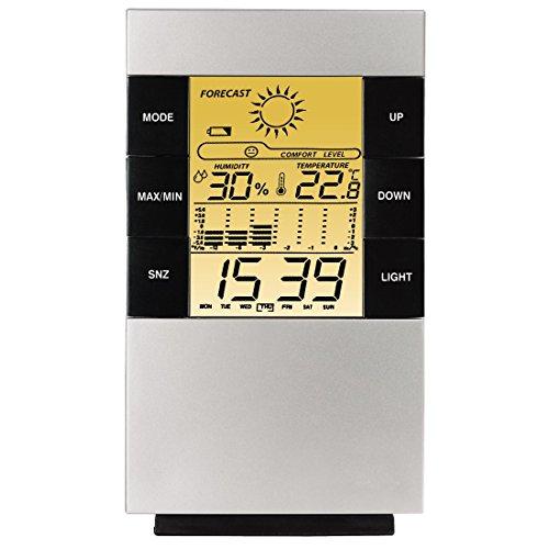 """Hama LCD-Thermo-/Hygrometer \""""TH-200\"""", mit Uhr, Datum und Wecker"""
