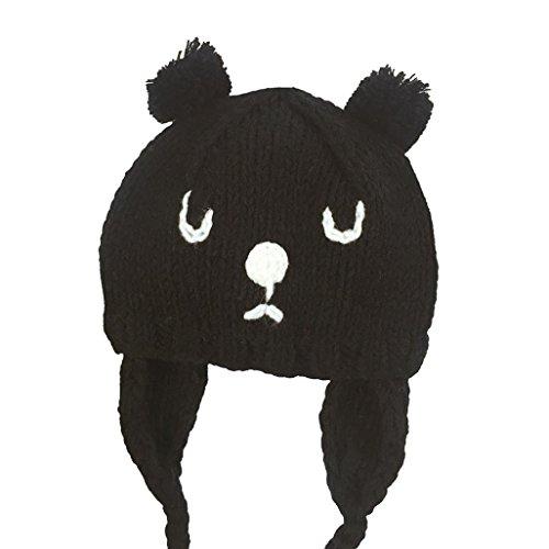 bébé enfants chapeau Longra Élasticité ours dessin Tricoté Bonnets 6 mois-3 ans bébé (6 mois-3 ans, Noir)