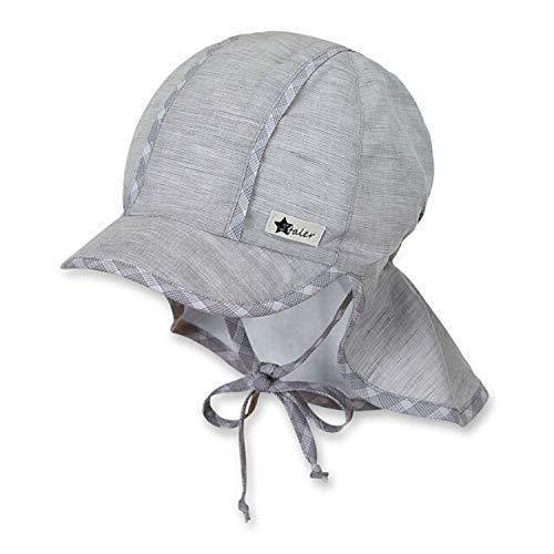 Sterntaler - Jungen Schirmmütze zum Binden, Sommermütze mit Nackenschutz, UV-Schutz 30, grau - 1611931, Größe 43