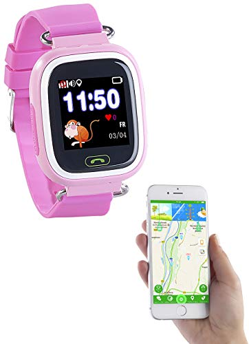 TrackerID Tracker Uhr Kinder: Kinder-Smartwatch, Telefon, GPS-, GSM-, WiFi-Tracking, SOS-Taste, rosa (Kinder Tracking Uhr)