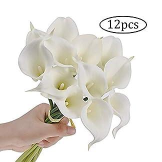 12 PCS ramo de novia de la boda Home Artificial flor de la cala del lirio de seda romántica decoración (blanco)
