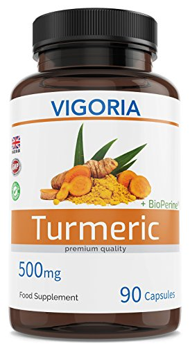 Cúrcuma con BioPerine por la máxima absorción de la curcumina - 500 mg. 90 cápsulas para 3 meses - Antiinflamatorio y antioxidante - Fortalece el sistema inmunológico los huesos y las articulaciones