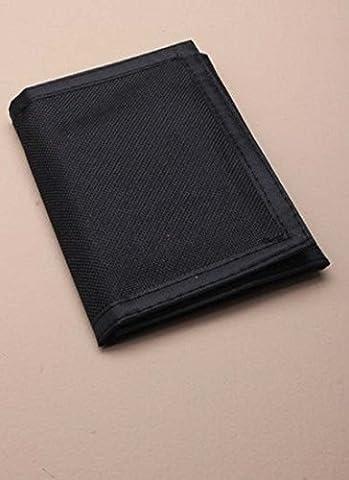 Mens Boys TRIFOLD WALLET CREDIT CARD HOLDER ZIP PHOTO COMPARTMENT BLACK SKULL CROSSBONE (Plain Black) by Boys
