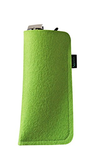 KringsFashion Brillenetui aus Filz, blanko, lime, hochwertiger Marken-Filz, Filz und Produktion aus Deutschland! (Green Lime Sonnenbrille)