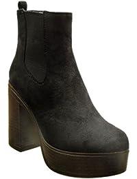 Angkorly - Zapatillas de Moda Botines chelsea boots zapatillas de plataforma altas mujer Talón Tacón ancho alto 11 CM - Negro