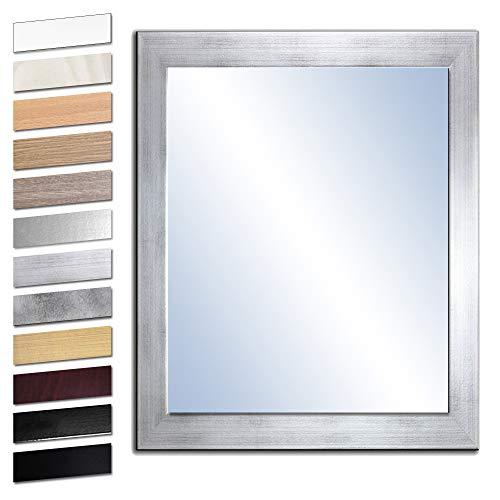Bilderdepot24 Wandspiegel Spiegel Badspiegel Holzrahmen komplett mit Echtglas - Silber - ca. 80x60 cm