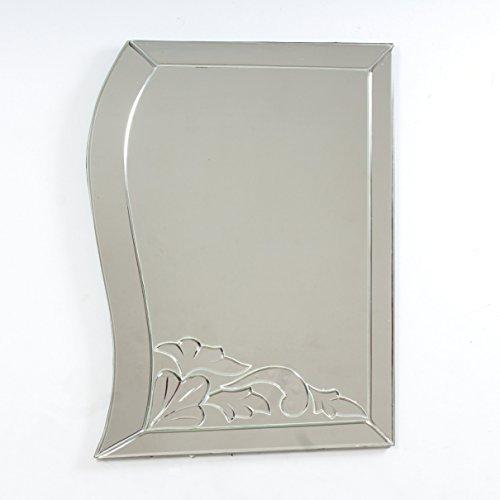 "Quality Glass Glass And MDF Decorative Wall Mirror (18""x24"", Silver, Asymmetric Shape) - B0798LMMFV"