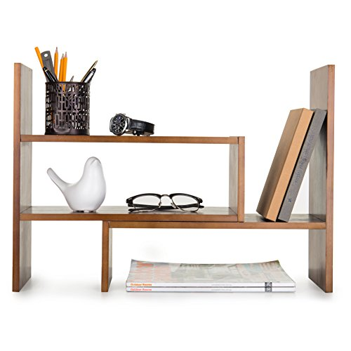 verstellbar Holz Desktop Lagerung Organizer Display Regal Rack, Counter Top Bücherregal braun -