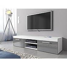 TV Mobile TV Porta Mobili Supporto Mambo, 160 cm, colore: bianco opaco/grigio (37 Legno Porta Tv)