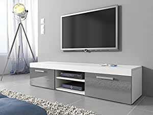 tv m bel lowboard schrank st nder mambo wei matt grau. Black Bedroom Furniture Sets. Home Design Ideas