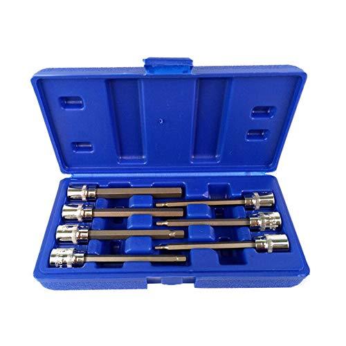 Silverdee 7pcs 3/8 Juego de dados extra Largos Adaptador de enchufe de 110 mm para Llave dinamométrica dinamométrica Juego de puntas de destornillador de Llave Allen hexagonal 3-10 mm
