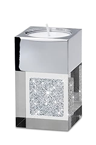 Modernes Teelicht Pylon mini mit SWAROVSKI ELEMENTS Kristallen - die besondere Tisch-Dekoration