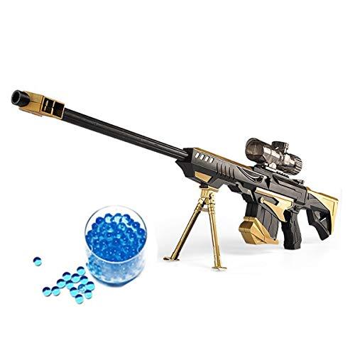 JINFYUAN Wasserbomben-Spielzeugpistole, Militär Kampf, Barrett Scharfschützengewehr für Kinder im Freien, CS-Wasserbomben-Spielzeug, Scharfschützen-Gewehr + 15000 Kristallkugeln, gelb