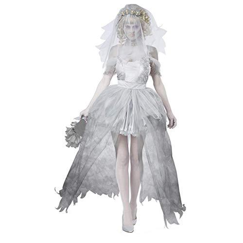 Fanessy Déguiselment pour Couple Amoureurs Costume Robe Blanc avec Voile de Mariée Sorcière Halloween Cosplay pour Toussaint Soirée Effrayant